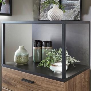 Ideal-Möbel Bacoor Vitrine 01 mit einer Tür zwei Schubkästen und einem Fach Dekor Eiche Ribbeck Cognac und Cosmos Grey Melamin mit Stahlprofilen - Vorschau 2