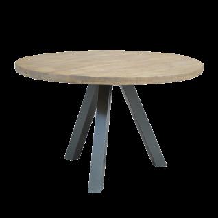 Sit Möbel TISCHE & BÄNKE Esstisch rund Tischplatte aus Mangoholz Beine Metall antiksilber