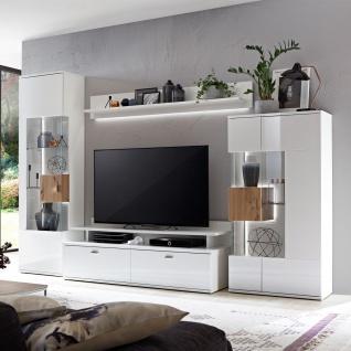 Ideal-Möbel Canberra Wohnkombination 41 für Ihr Wohnzimmer moderne 4-teilige Wohnwand mit zwei Vitrinen Lowboard und Wandboard Kombination in Weiß mit Hochglanzfronten mit Absetzung in Artisan Eiche - Vorschau 2