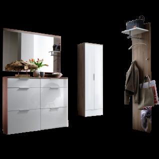Wittenbreder Stelvio Garderobenkombination Nr. 02 komplette Garderobe für Ihren Flur und Eingangsbereich 4-teilige Vorschlagskombination im Dekor Kronberg Eiche Weiß Glas und Dekor Weiß Hochglanz