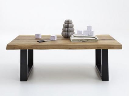 Bodahl Nature Couchtisch rustic oak mit U-Beinen und Baumkante Massivholz Tisch für Wohnzimmer in sieben Ausführungen wählbar
