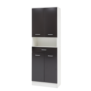 W.Schildmeyer Badmöbel Lorenz Hochschrank H600 mit vier Türen einem Schubkasten und einem offenen Fach für Badezimmer Korpus Perlweiß Front wählbar