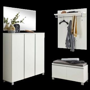 Voss Möbel Garderoben-Set 6 Salea 4-teilig Font und Korpus Lack Weiß für Ihren Eingangsbereich