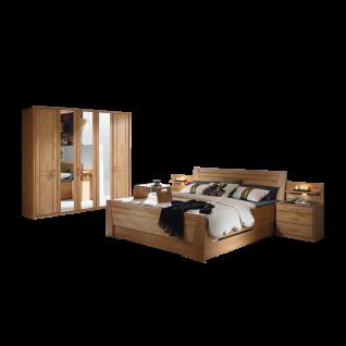 Rauch Steffen Sitara Schlafzimmer 4- teilig bestehend aus Komfortbett mit 2 Sockelschubkästen Nachtischkommoden und Drehtürenschrank Farbausführung und Liegefläche wählbar optional mit Nachtkommoden- Aufsatz inklsuive Beleuchtung und Passepartout- Rahmen