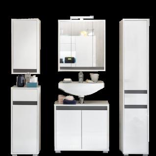 Trendteam Sol Badezimmerkombination 901 für Ihr Badezimmer 5-teiliges Set in Ausführung Korpus weiß Dekor Front weiß hochglanz Lack