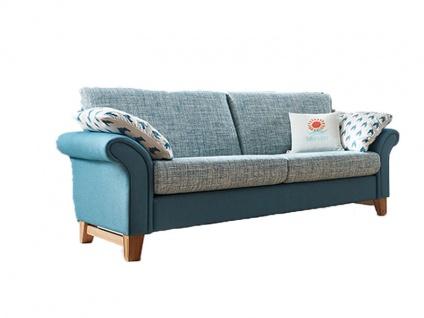Schröno Einzelsofa MANACOR aus der Mallorca Kollektion 3-Sitzer-Sofa mit Armlehnenkissen im zweifarbigen Design fein-grünblau-melierter Korpusbezug 65-09-755 mit einer grob-grünblau-melierter Sitz- & Rückenfläche 65-09-745 und 2 grünblau-weiß-gemusterten