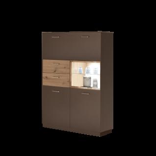 Mäusbacher Frame Highboard HB_221 für Ihr Wohnzimmer oder Esszimmer Anrichte mit zwei Türen zwei Schubkästen einem offenen Fach und einer Klappe Ausführung wählbar - Vorschau 1