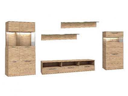 Dkk Klose Kollektion K20 Kastenmöbel Beispielkombination 1 Wohnwand 5-teilig Kombination Wildeiche furniert geölt oder Wachseffektlack Anbauwand für Wohnzimmer oder Esszimmer mit Vitrine Highboard und TV-Board Zubehör wählbar