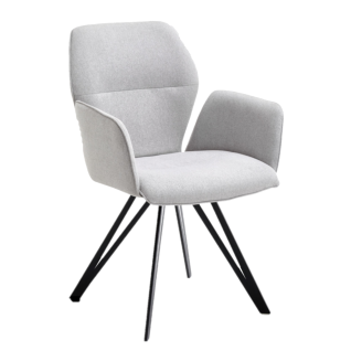 Niehoff Armlehnenstuhl Merlot 1132 Designerstuhl Bezug grau Stativgestell schwarz Esszimmerstuhl *** Stuhl schnell lieferbar ***