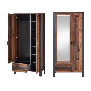 Innostyle Cardiff Garderobenschrank 3095VV01 mit Spiegel zwei Türen einem Schubkasten in Used Style dark Nachbildung und Matera Nachbildung - Vorschau 2