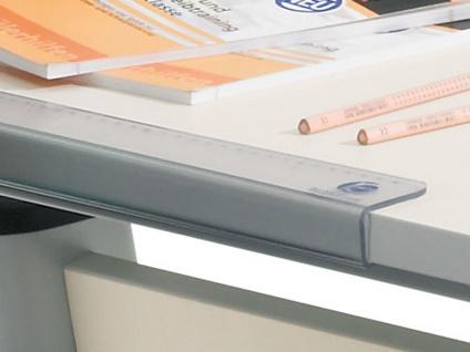 Paidi Schoolworld Falko Schreibtisch Plattenausführung Ecru Gestell silberfarbig optional mit Anbau 75 und Schubkastenvollauszug - Vorschau 3