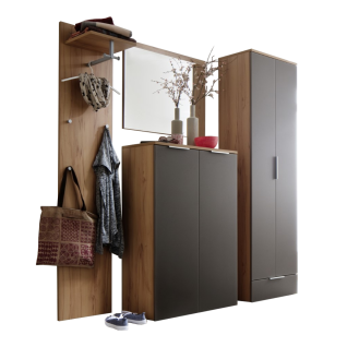 Wittenbreder Stelvio Garderobenkombination Nr. 06 komplette Garderobe für Ihren Flur und Eingangsbereich 4-teilige Vorschlagskombination in Kernbuche Dekor und Basalt Glas mattiert