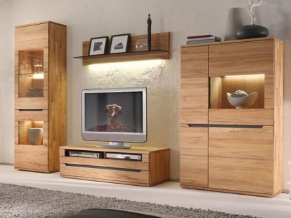 Decker Möbelwerke Wohnwand Ameno Massivholz 4-teilig Kombination Vorschlag 18108 für Wohnzimmer Ausführung Front / Korpus und Beleuchtung wählbar