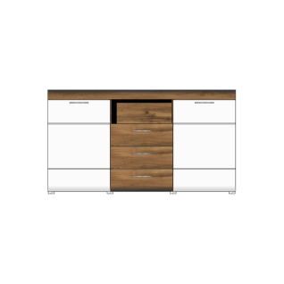 Wohn-Concept Le Mans Sideboard Lyon 40 68 RW 20 moderne Kommode für Ihr Wohnzimmer oder Esszimmer mit zwei Türen drei Schubkästen und einem offenen Fach in Weiß matt und Eiche Altholz Nachbildung