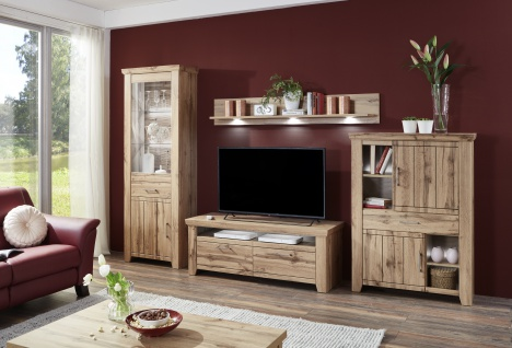 Ideal-Möbel Wohnwand Stromberg 4-teilig mit Vitrine Unterteil für TV Highboard und Wandpaneel Anbauwand für Wohnzimmer mit oder ohne Beleuchtung wählbar