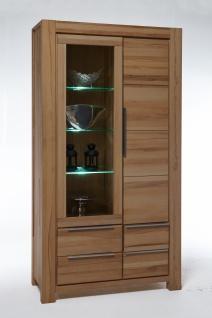 Elfo-Möbel Nena Vitrine 2759 in Wildeiche Massivholz geölt Glasschrank mit 1 Holztür, 1 Tür mit Glaseinsatz und 4 Schubkästen stilvoller Stauraum für Wohnzimmer oder Esszimmer
