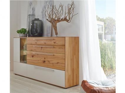 Wöstmann Calleo Multifunktions-Highboard Sideboard in drei Größen wählbar Kommode für Wohnzimmer oder Esszimmer geeignet in Wildeiche oder Kernbuche Massivholz mit Mattglas-Akzenten