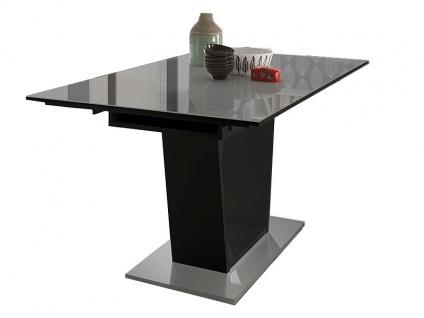 Mäusbacher Esstisch Mix Box 0571_160-240 ausziehbarer Säulentisch für Ihr Esszimmer mit Bodenplatte in Edelstahloptik und einer Glasoberplatte in zwei verschiedenen Ausführungen
