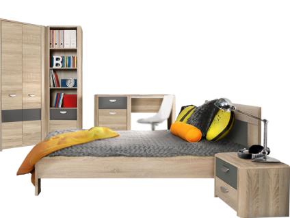 FORTE Yoop Jugendzimmer-Set 5-teilig mit Eckkliederschrank Regal Schreibtisch Bett ca. 90 x 200 cm und Nachtkommode Jugendzimmer mit Korpus in Sonoma Eiche Nachbildung und Front in Sonoma Eiche NB kombiniert mit Grau Anthrazit