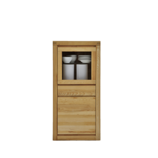 Elfo-Möbel Delft Vitrine 6204 mit 1 Schubfach 1 Glastür und 1 Tür Vitrinenschrank mit viel Stauraum für Ihr Wohnzimmer Massivholz Kernbuche geölt
