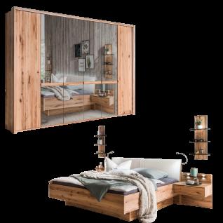 Wiemann Livorno Schlafzimmerset mit Futonbett mit Polsterkopfteil Drehtürenschrank mit Spiegeltüren und Beimöbel in Astkernbuche Teilmassiv
