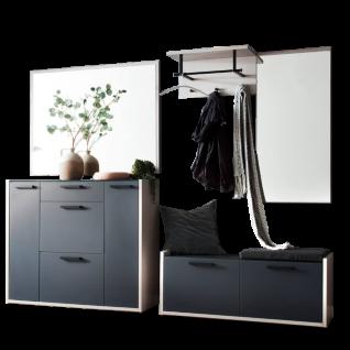 Wittenbreder LimU Garderobenkombination Nr. 07 komplette Garderobe 6-teilig in Lack Grau matt und Anthrazit Glas matt