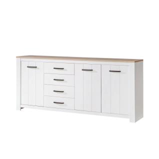 Forte Elara Sideboard ERXK241 für Ihr Wohnzimmer oder Esszimmer Kommode mit Türen und Schubkästen mit Korpus und Front in Weiß matt Dekor und Absetzungen in Bianco Eiche Nachbildung - Vorschau 2