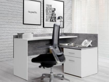 FORTE Net106 Eckschreibtisch MT939 Schreibtisch für Ihr Arbeitsszimmer oder Büro mit Tür und Schublade Korpus Betonoptik Lichtgrau Front Weiß