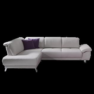 Dietsch Sofaecke Time Vital in grauem Echtlederbezug inklusive praktischer Sitztiefenverstellung und zwei Zierkissen in lilafarbigem Stoff