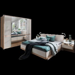Wiemann Barcelona Schlafzimmerset mit Futonbett mit Polsterkopfteil Drehtürenschrank mit 3 Spiegeltüren und Beimöbel in Bianco-Eiche-Nachbildung