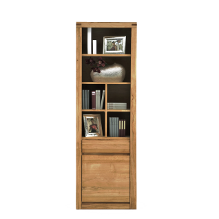 Elfo-Möbel Delft Regal 6202 mit 1 Schubkasten 1 Tür und 6 Fächern in Kernuche geölt Massivholz Kernbuche Bücherregal