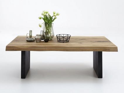 Bodahl Nature Couchtisch rustic oak mit Wangengestell und Baumkante Massivholz Tisch für Wohnzimmer in sieben Ausführungen wählbar