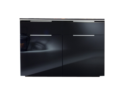 Rauch Steffen Linea Concept Kommode mit 2 Türen und 2 Schubkästen Korpus in Dekor Schwarz matt mit Front Farbglas matt in Schwarz mit Griffen in Aluminiumfarbe mit Beleuchtung der Oberplatte