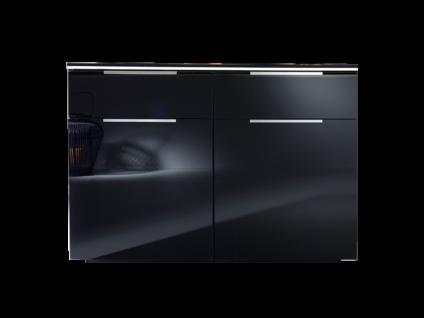 Rauch Steffen Linea Concept Kommode mit 2 Türen und 2 Schubkästen Korpusausführung Dekor Schwarz matt Frontausführung Farbglas Schwarz matt Griffenausführung Aluminiumfarbe inklusive LED-Beleuchtung