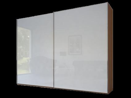 Rauch Steffen Linea Concept 20up Schwebetürenschrank Front 4A Korpus Dekor-Druck Nussbaum Front Farbglas matt Kristallweiß Griffe in Korpusfarbe ca. 300 cm breit und ca. 223 cm hoch