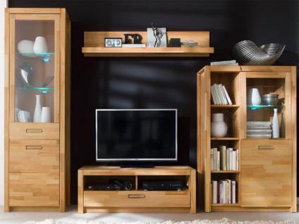 MCA Direkt Wohnwand Fenja Wohnkombination W01 4-teilig für Wohnzimmer bestehend aus Vitrine, TV-Element, Wandboard und Kombi - Highboard