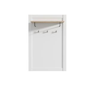Forte Elara Garderobenpaneel HVND501 für Ihren Eingangsbereich Kleiderpaneel mit Ablageboden zwei Kleiderstangen und drei Haken Paneel in Weiß matt Dekor Absetzung in Bianco Eiche Nachbildung