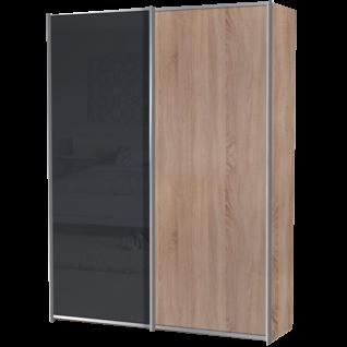 Staud Sinfonie Plus Schwebetürenschrank Ausführung 02 Korpus in Dekor, linke Tür oder Mitteltüren Glas oder Spiegel wählbar mit 2 Zierleisten waagerecht je Tür oben und unten