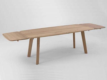 Niehoff Bozen Massivholz Esstisch 1733 Design-Tisch mit eingerückten Füßen für Speisezimmer verschiedene Größen erhältlich verlängerbar mit Ansteckplatten passend zum Designstuhl 4561
