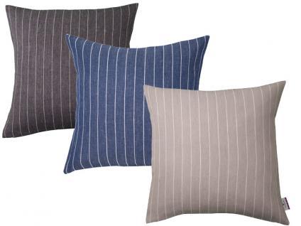 Tom Tailor hochwertige Kissenhülle Easy Linen in 3 Farbvarianten mit dezenten, feinen Streifen erhältlich, gegen Aufpreis auch mit Füllung wählbar