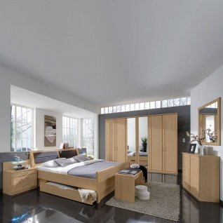 Wiemann Luxor 3&4 Schlafzimmer Doppelbett mit Bettkasten Drehtürenschrank 2 Nachtschränke Kommode Wandspiegel Farbausführung wählbar