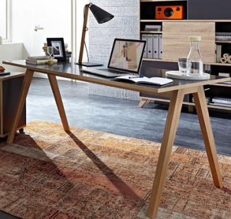 Germania Schreibtisch HELSINKI 4065-161 in Anthrazit mit Absetzkanten Sonoma-Eiche-Nachbildung mit hochwertigen ABS-Kanten ideal für Homeoffice oder Büro - Vorschau 3
