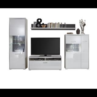 MCA furniture Wohnkombination 2 Trento Art. Nr. TRE83W02 Front weiß Hochglanz tiefzieh Nachbildung Korpus weiß Nachbildung edelstahfarbige Metallrahmen Beleuchtung wählbar Wohnwand für Ihr Wohnzimmer oder Gästezimmer