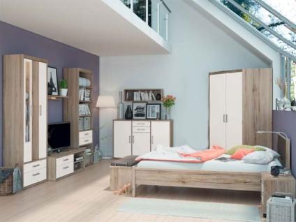 Priess Luna Schlafzimmer 3-teilig Eckkleiderschrank 2-türig Futonbett 180x200 cm Nachtkommode mit 2 Schubkästen Korpus in San Remo und Front in Lichtweiß
