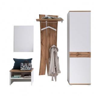 MCA furniture Garderobe 2 Nia Art.Nr. NIA99K02 Front und Korpus weiß Melamin Nachbildung Absetzung Wotan Eiche Nachbildung 4-teilig Flurgarderobe für Ihre Diele