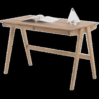 MCA furniture Delia Schreibtisch Art. Nr. 40319AE9 Asteiche Massivholz geölt Tischplatte mit Lamellen 2 Schubkästen für Ihr Büro