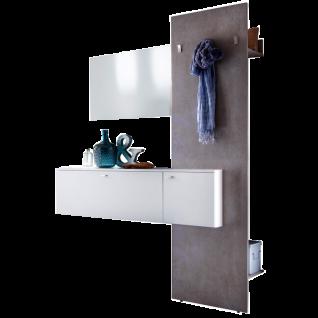 MCA Furniture Zara Garderobenkombination 2 ZARWBK02 Ausführung in weiß Melamin Garderobenelement Beton Optik Türen und Schubkästen gedämpft für Ihren Flur