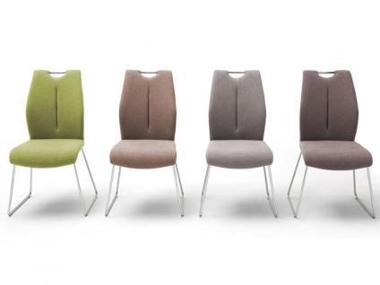 MCA furniture Kufenstuhl mit Griffloch SILVICA B 2er-Set Bezug Front Filzoptik Masada Rücken Polyurethan Gestell Rundrohr verchromt Bezugfarbe wählbar Stuhl für Ihr Esszimmer
