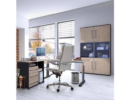 Röhr-Bush techno Büroausstattung 4-teilig bestehend aus Schreibtisch mit Anbau sowie 2 Anbauteilen in 6 Ordnerhöhen mit Glastür mittig, Korpus in Anthrazit und Front in Camara Eiche Nachbildung