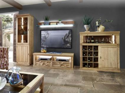 Schröder Mallorca Home Kombination K011 4-teilige Wohnkombination für Wohnzimmer Wohnwand mit Vitrine TV-Unterteil Wandboard und Highboard mit Barfach Beleuchtung wählbar